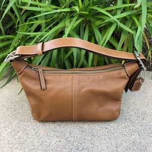 Coach Mini Leather Buckle Shoulder Bag Brown